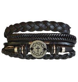 Stacked Leather Men's Bracelet (Black, Crown of Thorns)