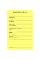 Blank for Baptism Register Forms (Pad of 50)