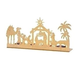 Nativity Scene Silhouette Advent Candle Holder (Candles Included)