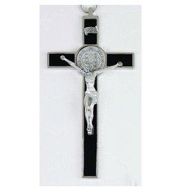 Saint Benedict Black Enamel Cross - Silver Tone Medal