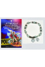 Police/St. Michael Italian Stretch Bracelet with Prayer Card
