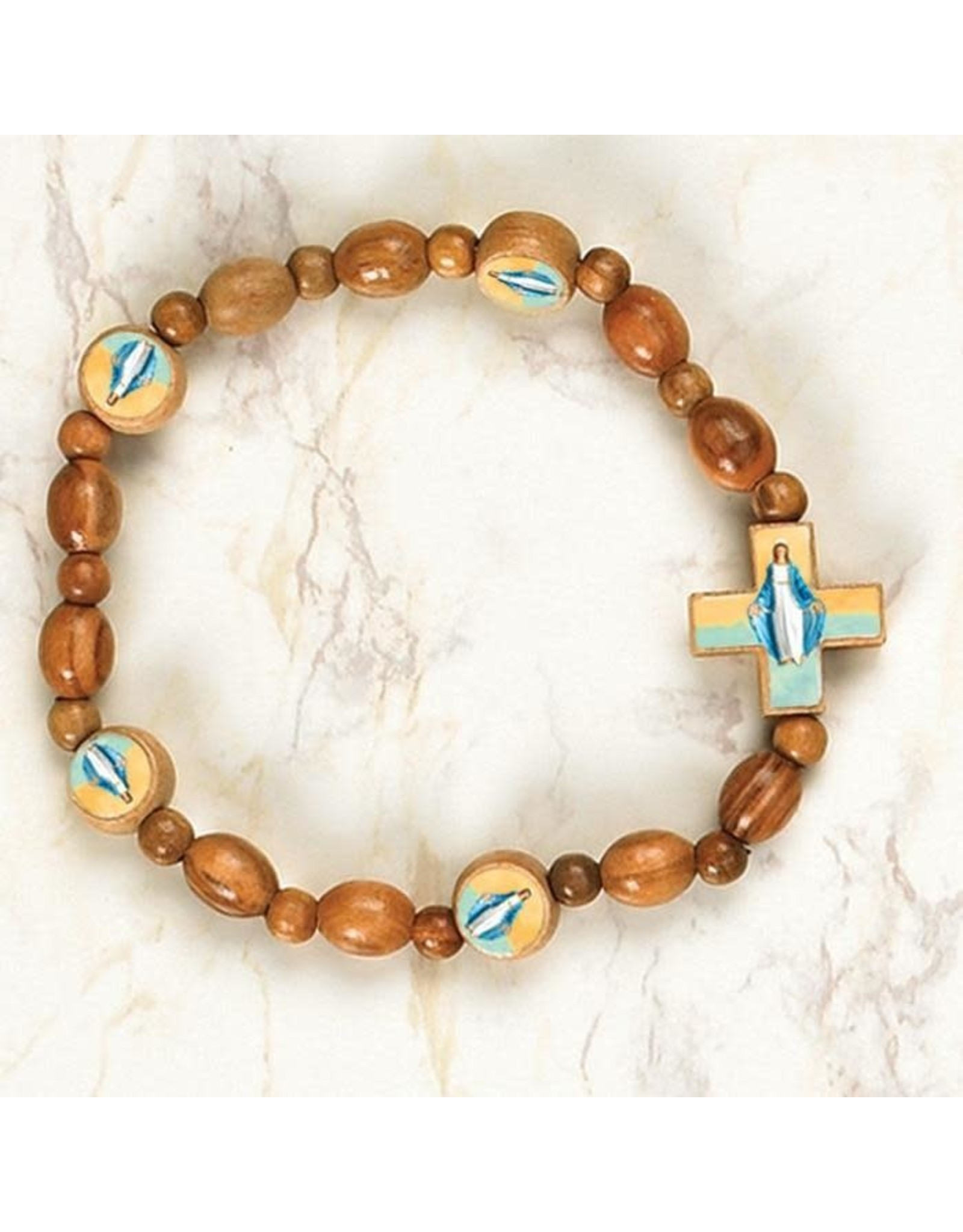 Lady of Grace - Italian Wood Saint Stretch Bracelets