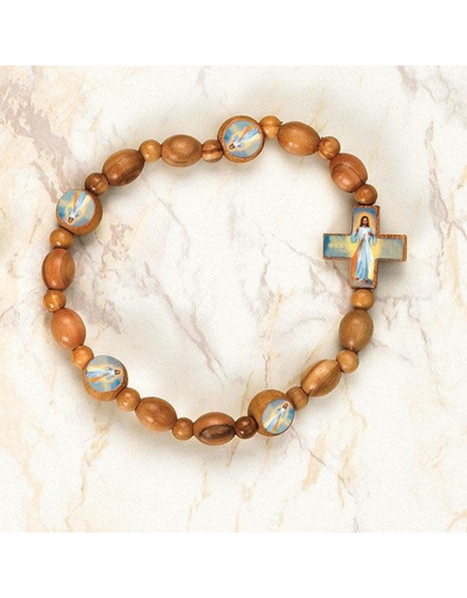 Divine Mercy Olive Wood stretch Bracelet