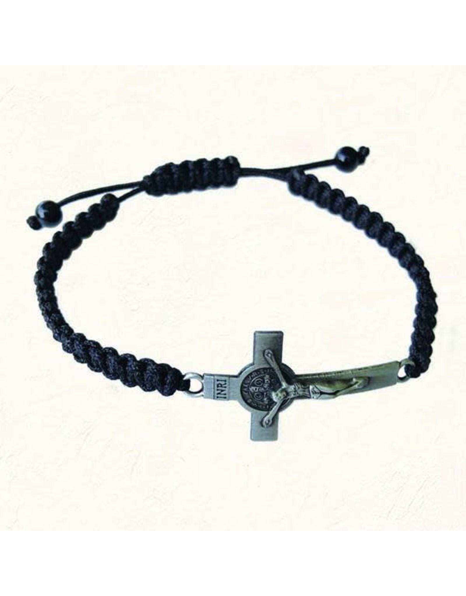 Black Slip Knot Bracelet with Antique Silver-Tone St. Benedict Cross
