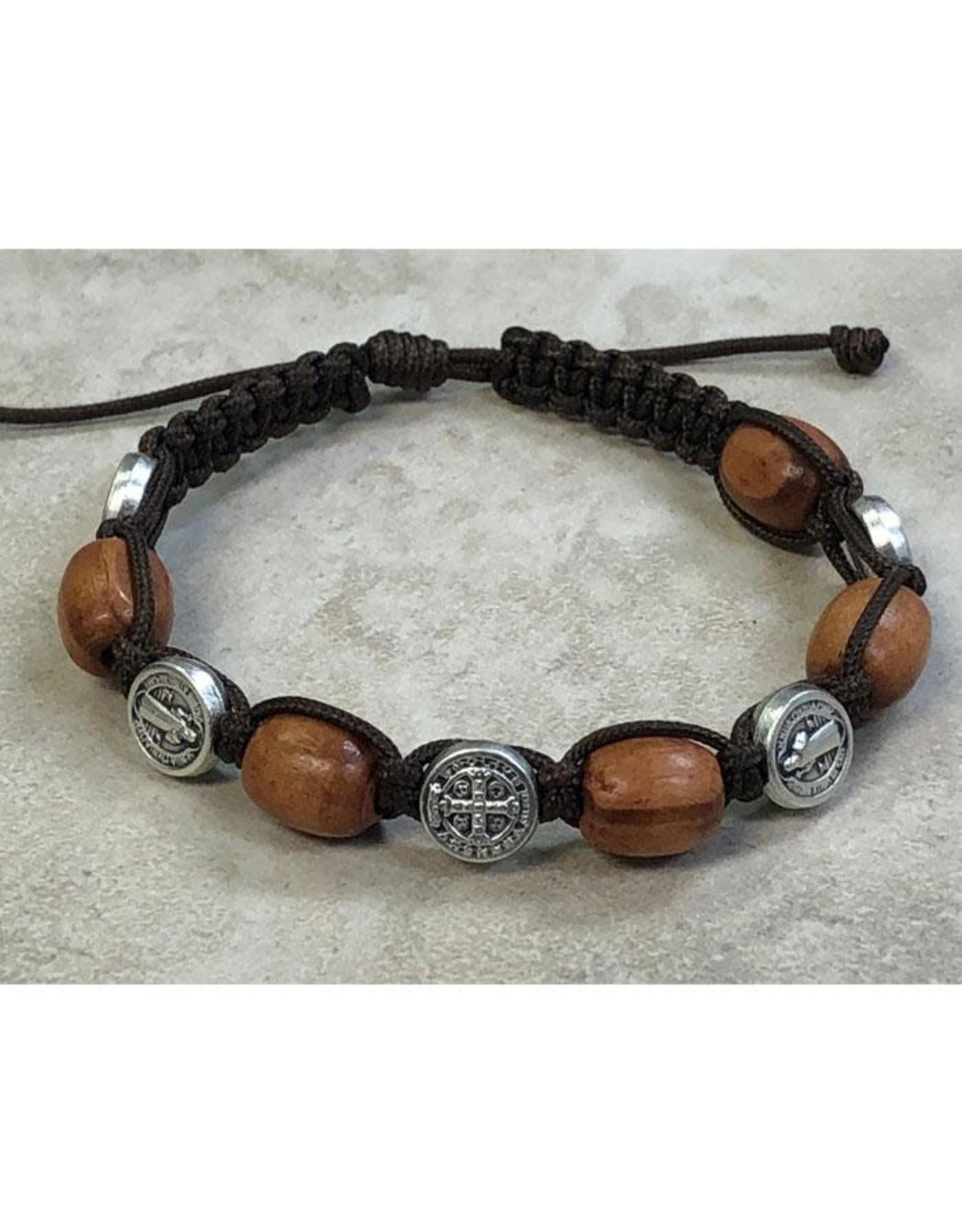 Light Brown Wood with Saint Benedict Medals Slip Knot Bracelet