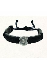 """Black """"Leather Feel"""" St. Benedict Slip Knot Bracelet"""