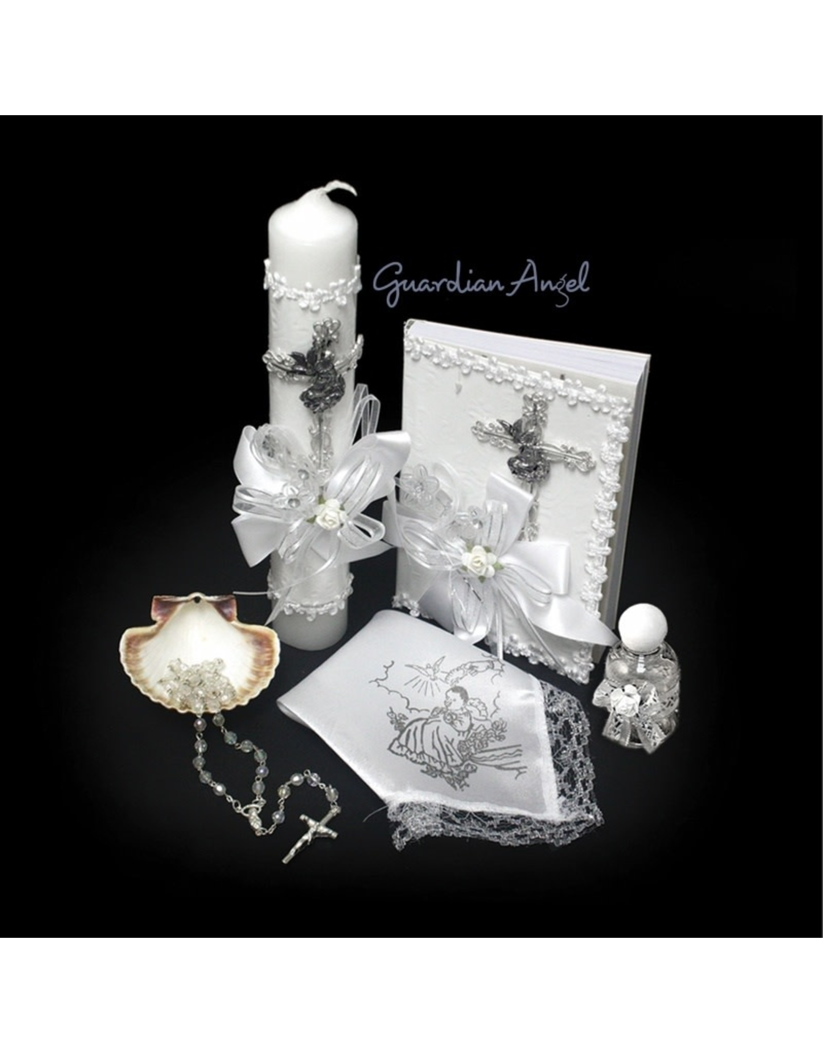 Baptism Set (Spanish), with Silver Dove Detailing