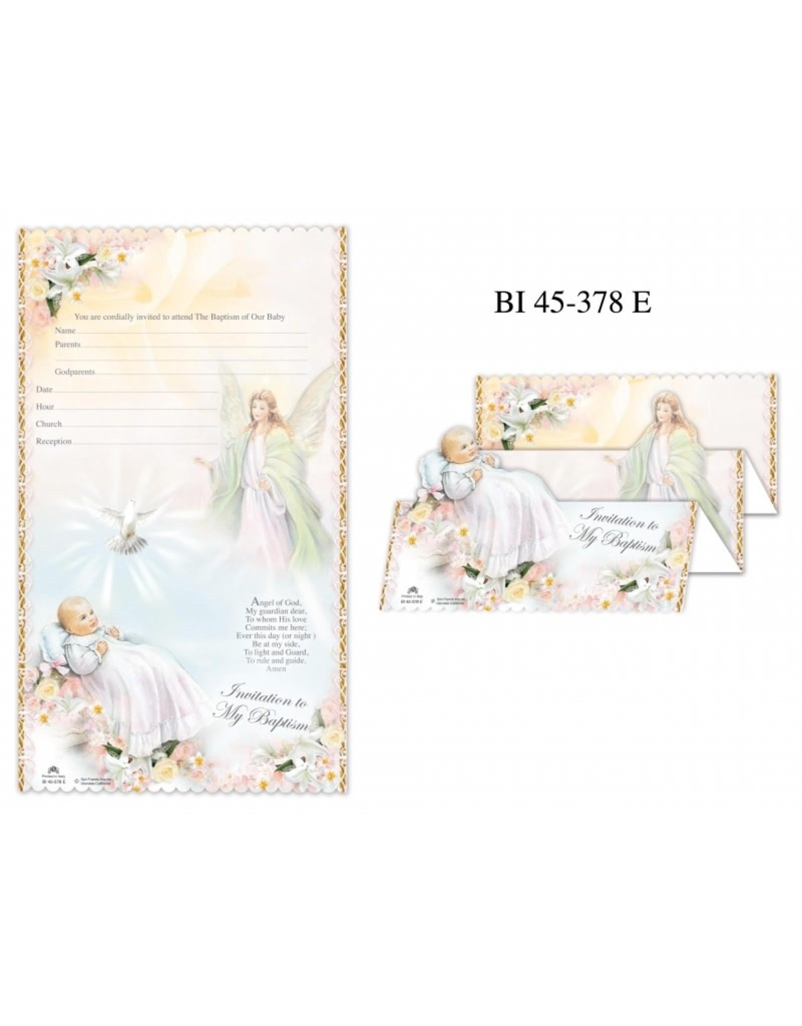 Baptism Invitations - Guardian Angel, Pack of 10 (English)