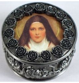 St. Therese Rosary Box - Pewter