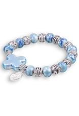 Light Blue Bracelet with Cross
