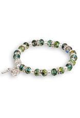 Emerald Tin-Cut Bracelet with Silver Heart Charm