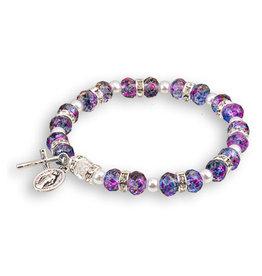 Amethyst Tin-Cut Bracelet with SilverMiraculous Charm