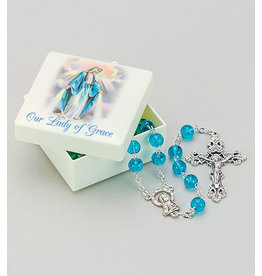 Our Lady of Grace Molded Rosary Box with Rosary