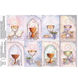 Holy Cards - Laser - First Communion Chalice (Sheet of 8)