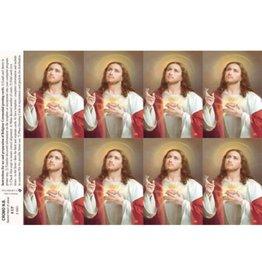Holy Cards - Laser - Sacred Heart of Jesus (Sheet of 8)
