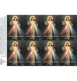 Holy Cards - Laser - Divine Mercy (Sheet of 8)