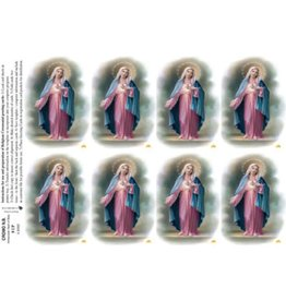 Holy Cards - Laser - Immaculate Heart of Mary (Sheet of 8)