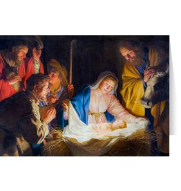 Adoration of the Shepherds by Gerard van Honthorst Christmas Cards (25)