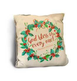 """""""God Bless Us, Every One"""" Rustic Pillow"""