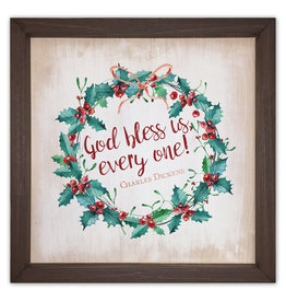 God Bless Us Rustic Framed Quote 8x8