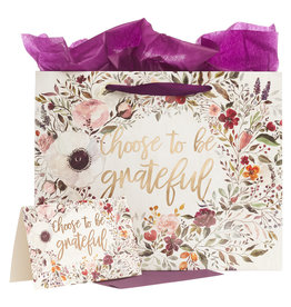 Choose To Be Grateful Large Gift Bag Set in Cream with Card & Tissue Paper