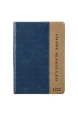 2022 He Will Sustain You Navy & Taupe Faux Leather Zippered Executive Planner