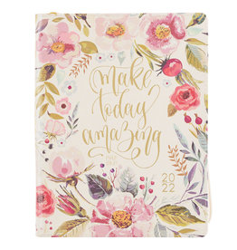 2022 Make Today Amazing Large Floral Faux Leather 18-month Planner For Women - Psalm 118:24