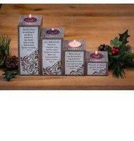 Advent Wreath (Candle Pillar Set for Tealights) - Love, Hope, Peace, Joy