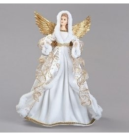 """Tree Topper - 18"""" White Angel with Gold Wings & Ribbons"""