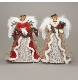 """Tree Topper - 18"""" Angel Red & Green Floral Accents"""