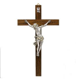 "10-1/2"" Dark- Wood Wall Cross with Silver Plated Corpus"