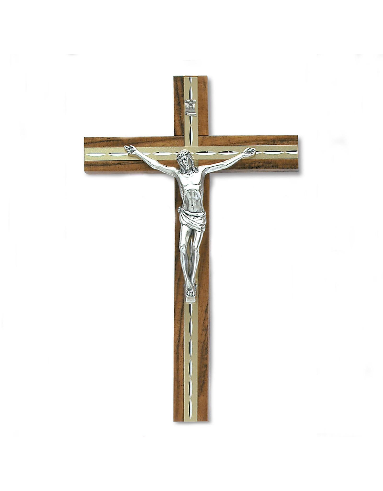 "10"" Gold/Medium Oak- Wood Wall Cross with Silver Tone Corpus"