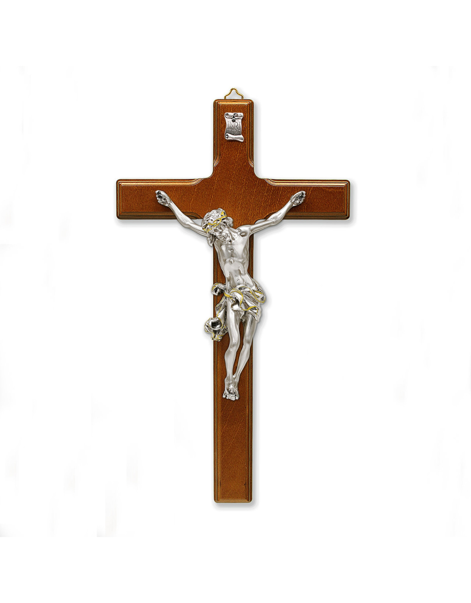 """10-1/2"""" Coffee Brown- Wood Wall Cross with Silver Plated Corpus"""