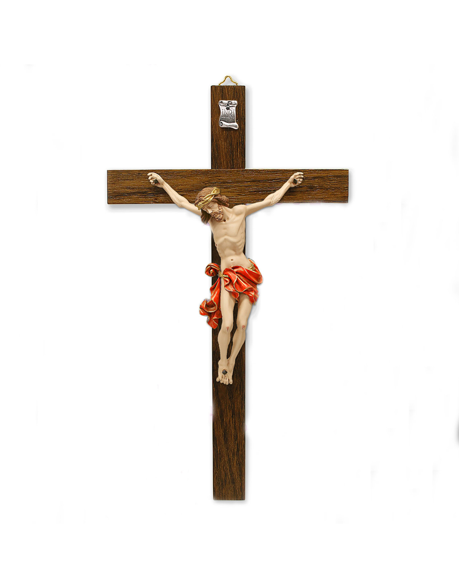 """10-1/2"""" Dark- Wood Wall Cross with Red Painted Corpus"""