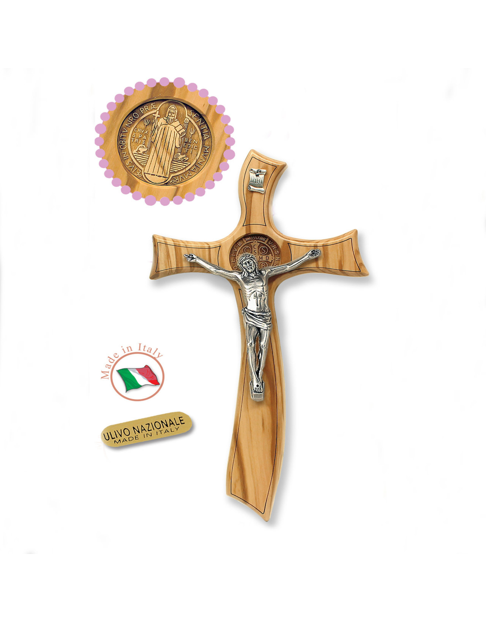 """8"""" St. Benedict Medal- Olive Wood Cross with Silver Plated Corpus"""
