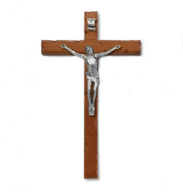 """8"""" Textured Cherry Stained- Wood Wall Cross with Silver Tone Corpus"""
