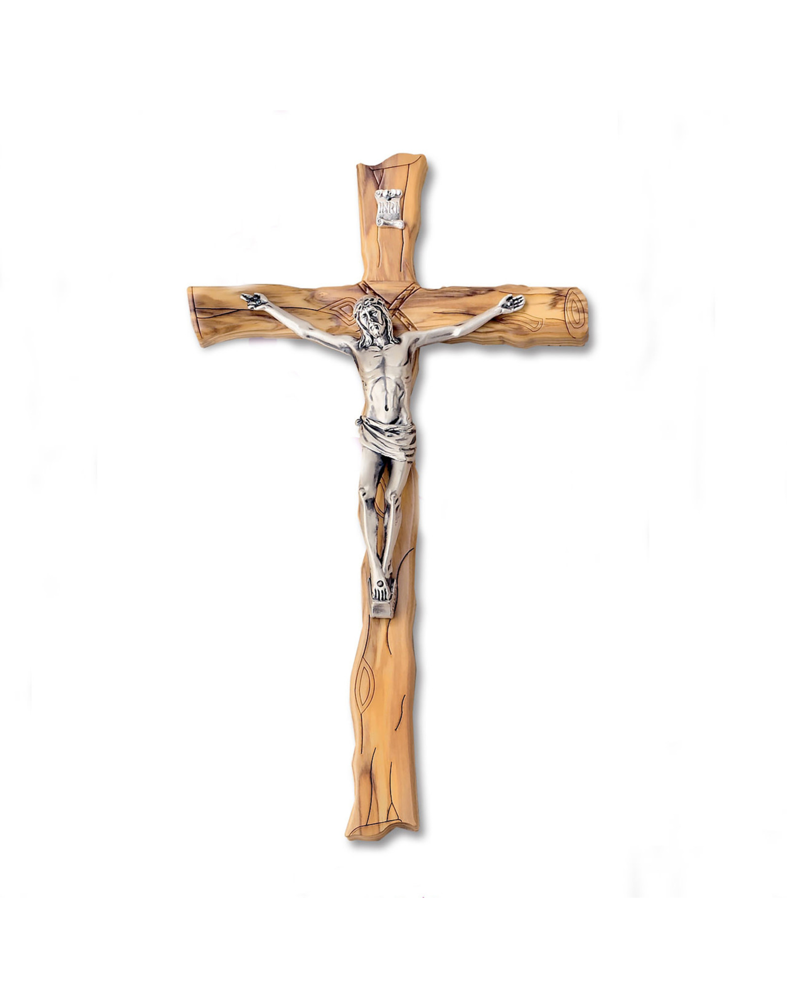 """6-3/4"""" Textured Olive- Wood Wall Cross with Silver Tone Corpus"""