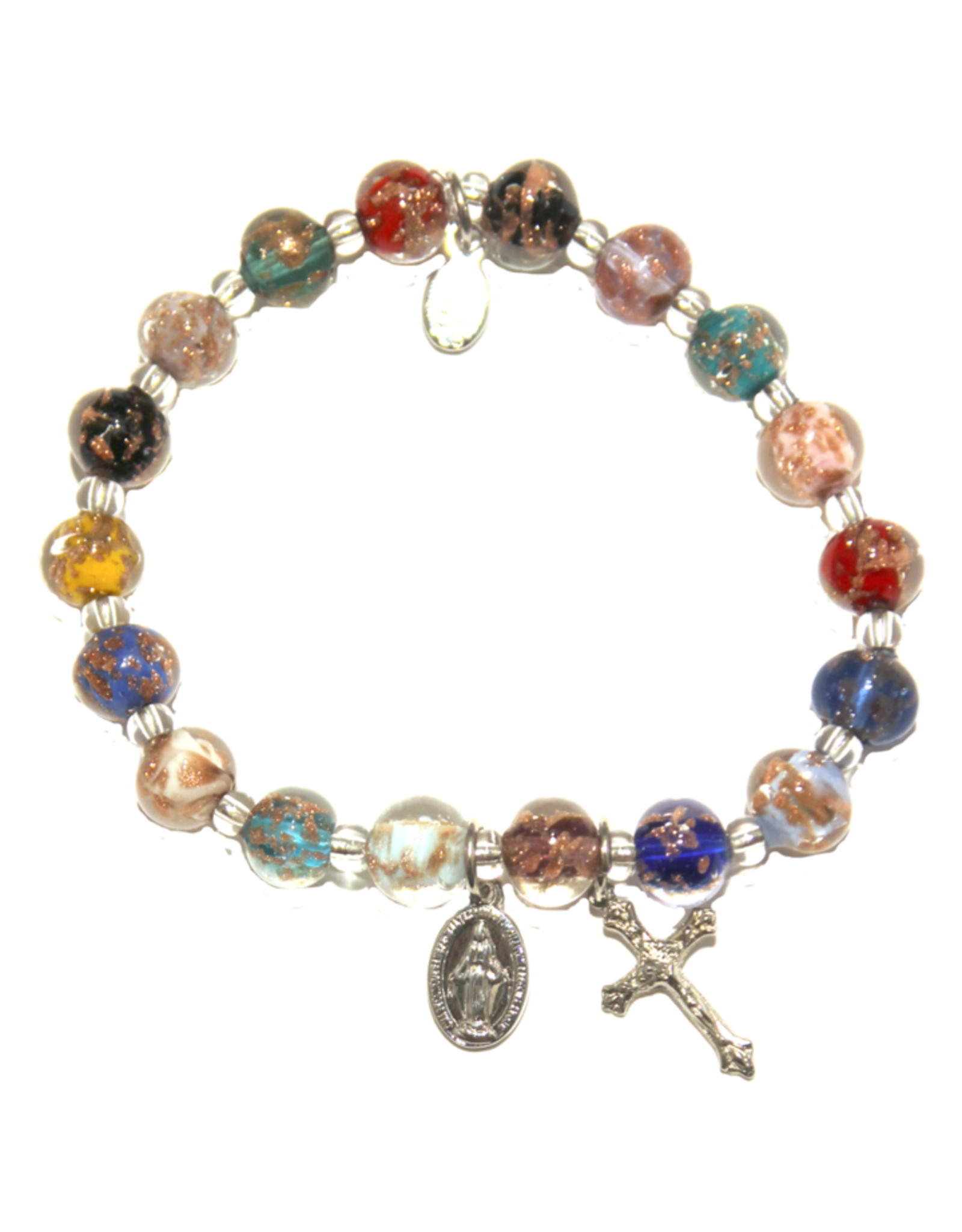 Rosary Bracelet - Multi Color Genuine Murano SIlver Tone Stretch Bracelet with Sommerso Beads, Miraculous Medal and Crucifix