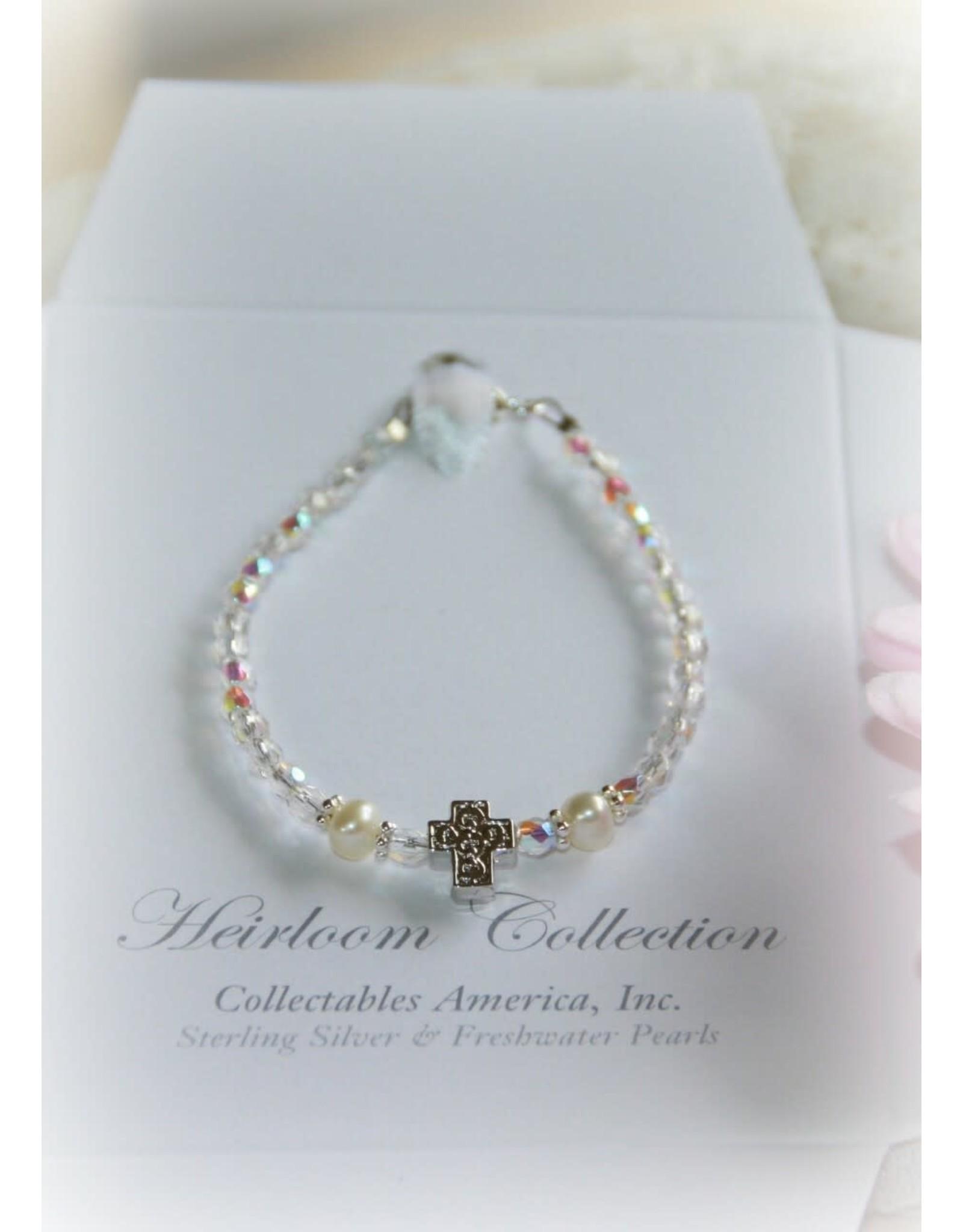 "Baby Bracelet Freshwater Pearls/Crystals 5"" Rhodium Finish Cross"
