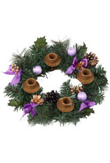 Advent Wreath - Greenery/Purple Ribbon