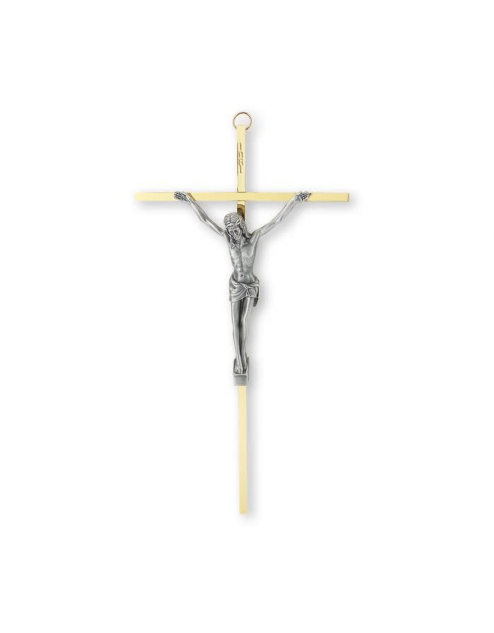 "10"" Brass Crucifix with an Antique Silver Corpus"