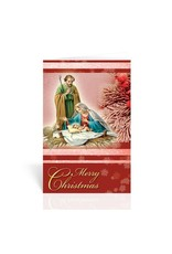 Holy Family with Manger & Frosted Evergreen Berries Christmas Card