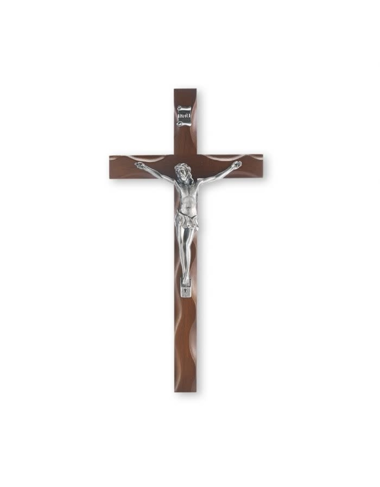 """10"""" Walnut Crucifix with Antique Silver Plated Corpus"""