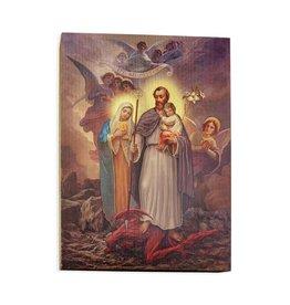 "7-1/2""x10"" St. Joseph Terror of Demons Textured Wood Plaque"