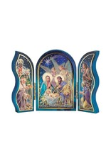 Nativity with Two Angels Natural Wood Triptych