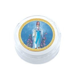 Our Lady of Lourdes Gold Trim Clear Rosary Box