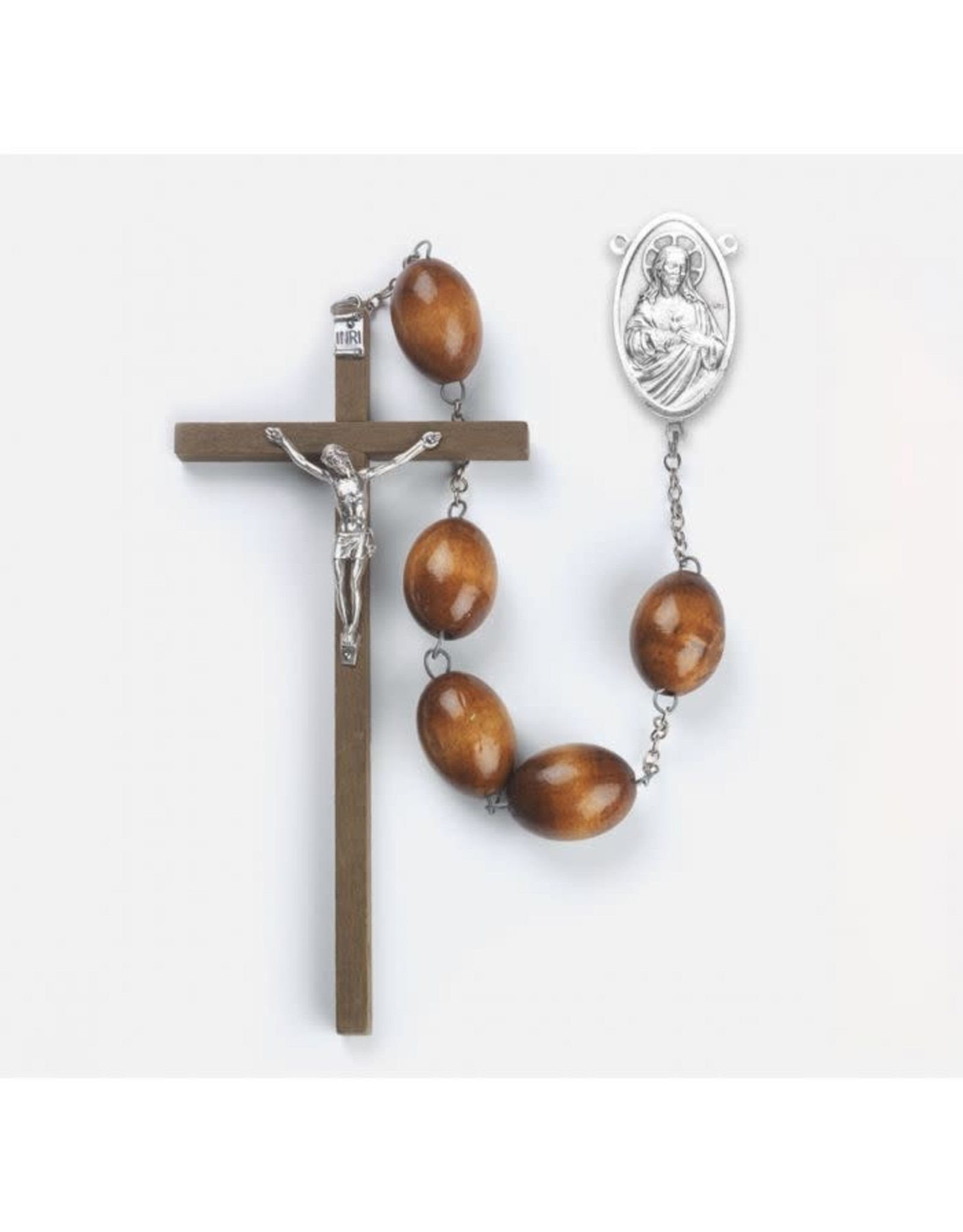 Brown Wood Bead Wall Rosary