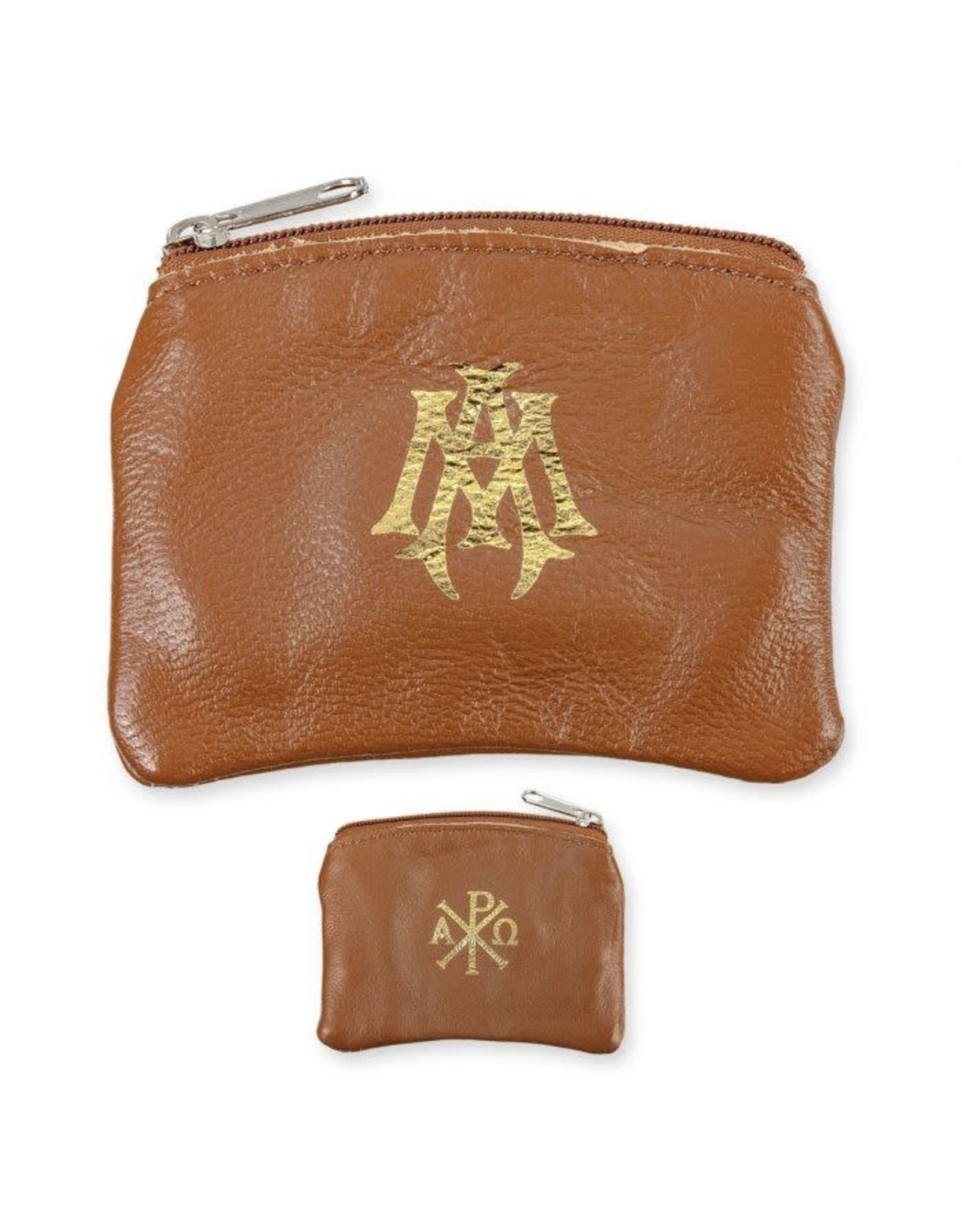 Brown Sheepskin Leather Rosary Case with Velveteen Lining