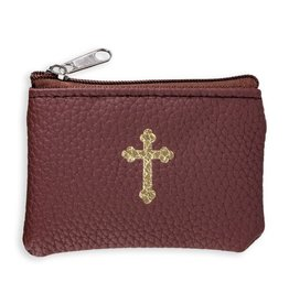 Dark Brown Calf-Grained Leatherette Rosary Case