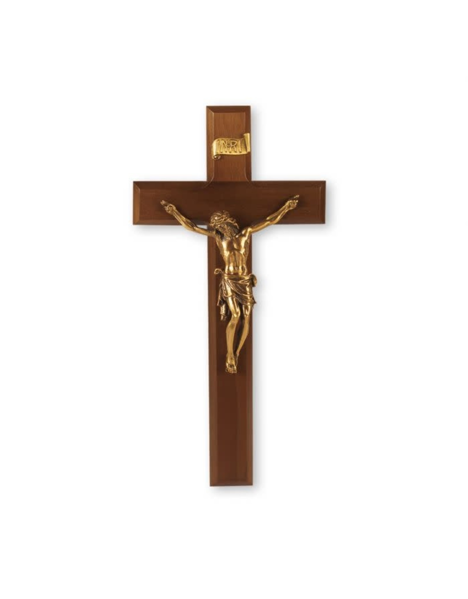 """11"""" Walnut Wood Cross with a Museum Gold Plated Corpus"""
